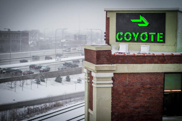 Just off the Kennedy Expressway is Coyote Logistics' headquarters, watching over drivers in more ways than just this one.
