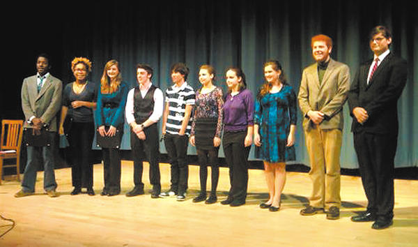 Poetry Out Loud competitors, were, from left, Cameron Smith, St. Paul's High School; Johana Gourdin, Dulaney High; Brianne Wade, Boonsboro High; Collin Poyle, Heritage Academy; Airon Echavez Stevanus, Gov. Thomas Johnson High; Christine Fontaine, Brunswick High; Casey Garnett, Oak Grove Academy Homeschool Co-op; Danielle Hoppel, Oak Grove Academy Homeschool Co-op; Gary M. Hartman, Allegany High; and Nicholas DeMichele, Mountain Ridge High.