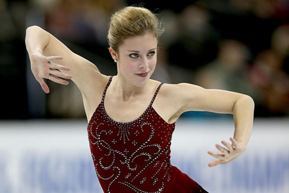 Ashley Wagner in the short program at the U.S. Championships.  (Matthew Stockman / Getty Images)