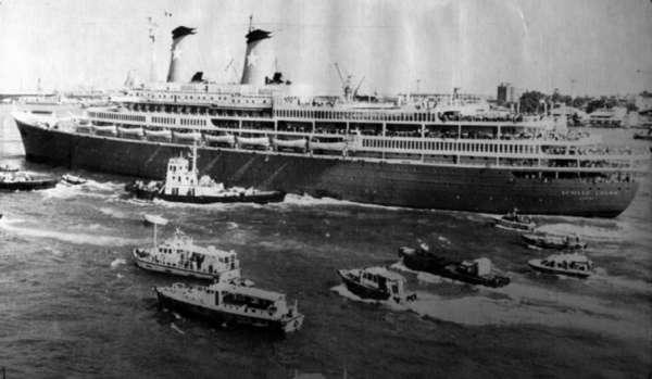 The Italian cruise ship Achille Lauro heads out of Port Said, Egypt, in 1985 following a seven-day ordeal that began with its hijacking by Palestinian terrorists.