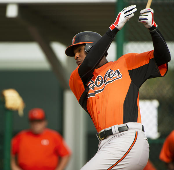 Orioles' Adam Jones takes a swing in the team's first intrasquad game last week.