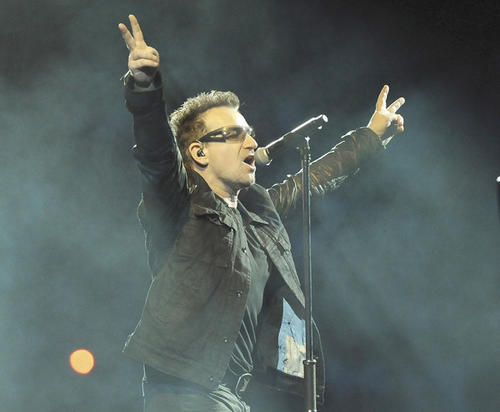 Bono performs on stage during U2's concert at M&T Stadium.