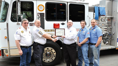 The Hooversville Volunteer Fire Department received Level 3A certification from the state for its swiftwater/flood response team. From left are Chief Jim Karashowsky, Assistant Chief Mike Shumaker, Southern Alleghenies EMS Council Deputy Director Carl Moen, Capt. Craig Maurer and Third Assistant Chief Chad Maurer.