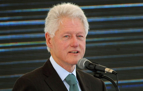 Former US President Bill Clinton speaks on Feb. 21, during the inauguration ceremony for the first phase of the Eko Atlantic real estate project, in Lagos, Nigeria.