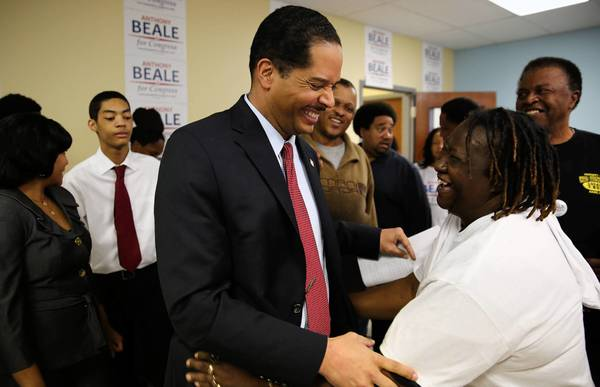 Chicago Ald. Anthony Beale greats supporter and campaign worker Frankie Nelson after making his concession speech after losing to former state Rep. Robin Kelly in the 2nd Congressional District primary election Tuesday, Feb. 26, 2013 at his campaign headquarters in Chicago.