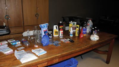 Some of the most common ingredients found in meth labs were on display during training in the Somerset fire hall Tuesday.