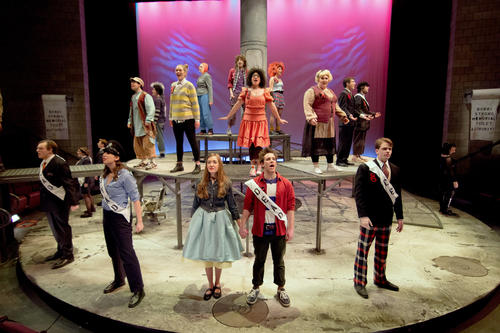 The cast of Urinetown, presented by Lehigh University Theatre through Saturday.