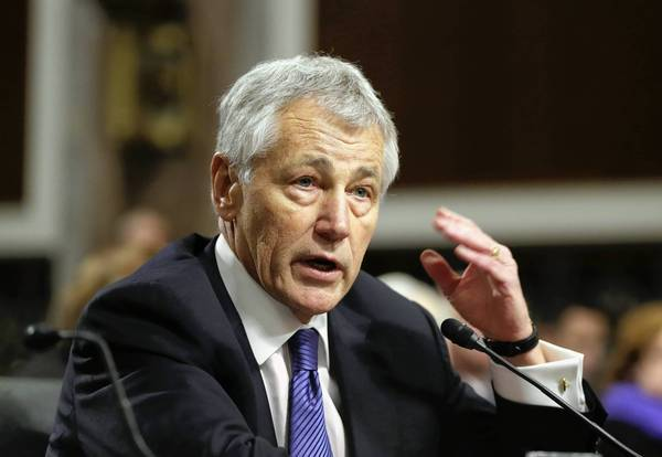 Chuck Hagel testifies before the Senate Armed Services Committee during his confirmation hearing last month.