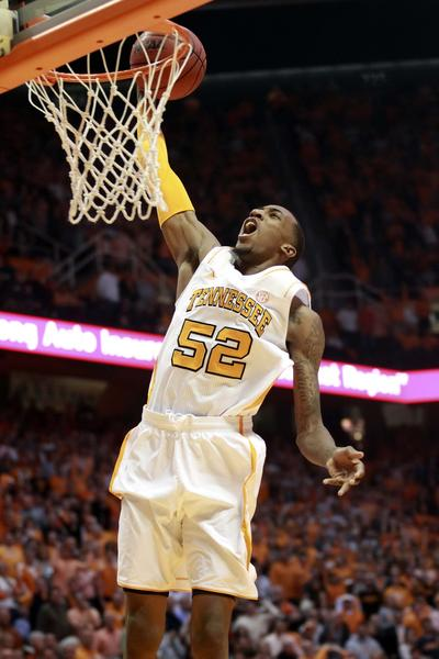 Tennessee Volunteers guard Jordan McRae (52) goes up for a dunk during the first half against the Florida Gators at Thompson-Boling Arena.
