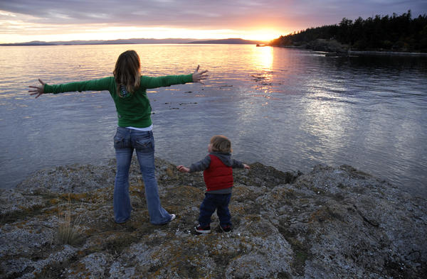A sunset is relished from one of the many beaches on Canada's Pender Island.