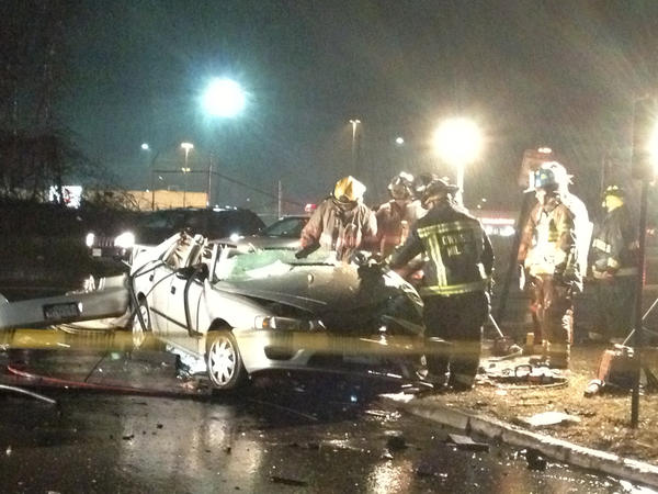 A car crash Tuesday night near the intersection of Reisterstown Road and Caraway Road in Reisterstown killed the driver of this Toyota Corolla and seriously injured the driver of a Chevy Traverse.
