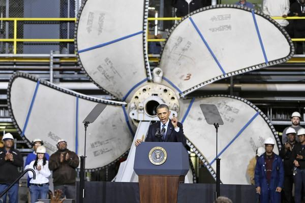 President Obama, appearing Tuesday at a shipbuilding site in Newport News, Va., warns of the effects of scheduled Pentagon cuts under the so-called sequester spending reductions due to take effect this week.