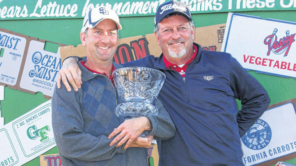 Brothers Chad (left) and Brian Schmitt both fared well at last week¿s 85th annual Elmer Sears Lettuce Tournament, held at the Del Rio Country Club in Brawley. Chad won the Championship division, while Brian came out on top in the consolation bracket.
