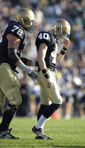 Notre Dame kicker Nick Tausch reacts after missing his second field goal during the second quarter.