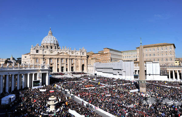 Tens of thousands pack St Peter's Square for Pope Benedict XVI's last weekly audience, on the eve of his historic resignation.