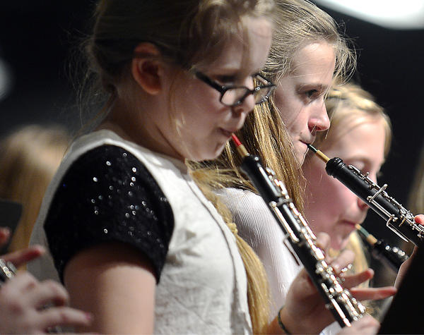 Members of the elementary school band perform during Tuesday's Music in Our Schools week concert at the Waynesboro (Pa.) Area High School performing arts center. More than 150 students from the school district's four elementary schools performed four songs as part of the concert.