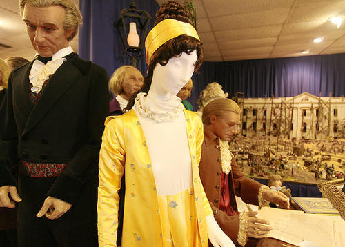 Dolley Madison's yellow silk empire gown is seen at an exhibit about first ladies that opened in 2009 at the Presidents Hall of Fame featuring a collection of first ladies' gowns.
