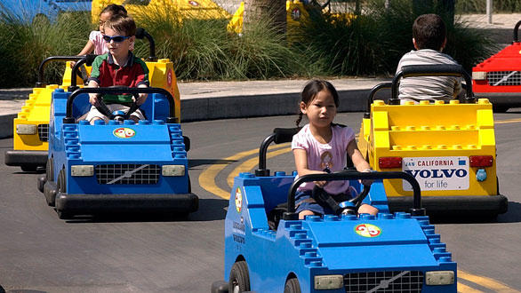 Kids take the wheel at the Legoland California Driving School.