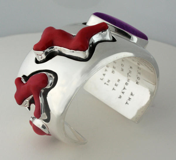 Red coral cuff bracelet by Kim Rawdin of the USA.