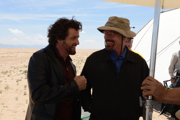 "Louis Ferreira and Bryan Cranston on the set of ""Breaking Bad."""