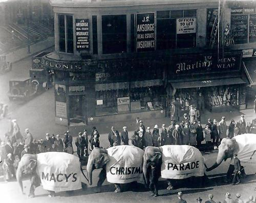 Real elephants were in the first Macy's Parade, which once had more of a Christmas emphasis, in New York in 1924.