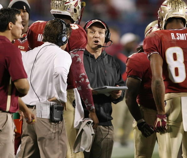 FSU head coach Jimbo Fisher coaches during the ACC Championship game of Florida State versus Georgie Tech at Bank of America Stadium in Charlotte, NC, on Saturday, December 1, 2012. (Stephen M. Dowell/ Orlando Sentinel)