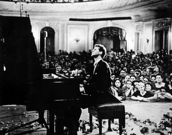 Pianist Van Cliburn performs to a packed audience in the Great Hall of the Moscow Conservatory in Moscow, Russia, in April 1958 during the first International Tchaikovsky Competition, which he won.