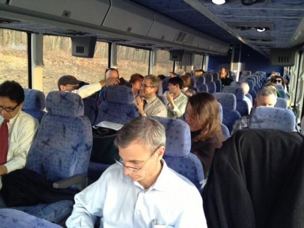 Teachers and residents on the bus headed to the U.S. Senate Judiciary Committee hearing on gun control.