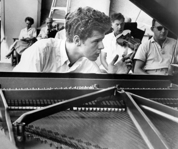 Van Cliburn during rehearsal for a 1959 concert at the Hollywood Bowl.