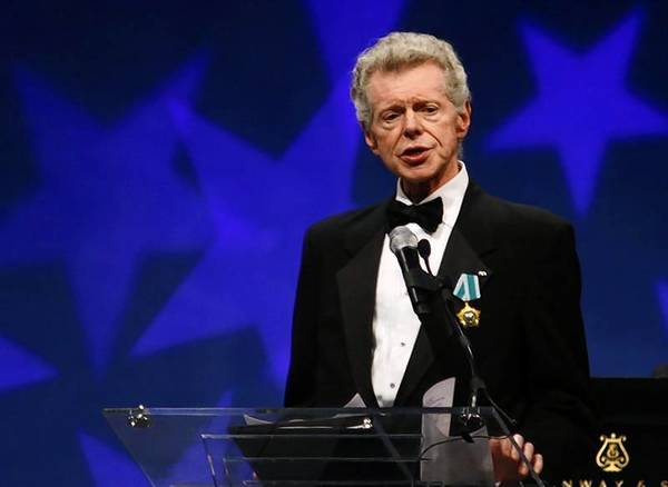 Pianist Van Cliburn speaks before presentation of Liberty Medal at National Constitution Center in Philadelphia, Pennsylvania, September 18, 2008.