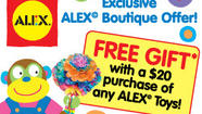 Beanstalk is pleased to announce an in-store Free Gift with Purchase from ALEX Toys! The Free Gift promotion starts March 15, 2013 and is a great way to celebrate the joys of shopping locally, while supporting your commitment to the community.