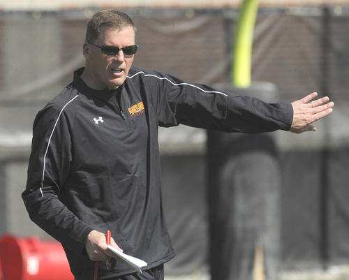 Randy Edsall directs a Maryland spring football practice.