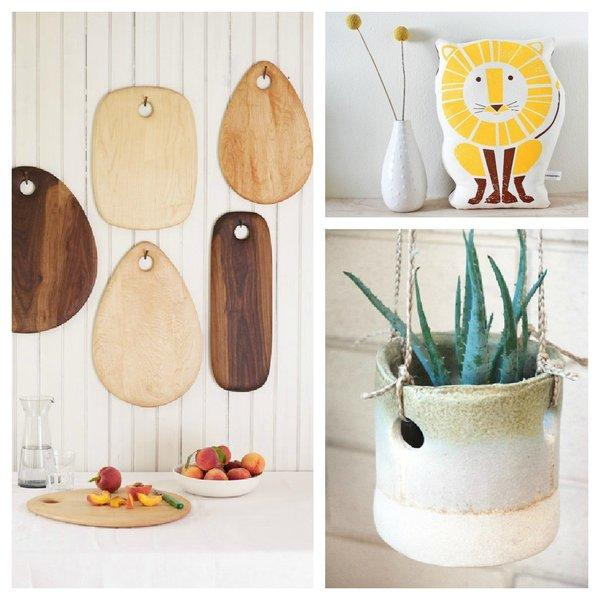 The Etsy pop-up shop at the West Elm store on Beverly Boulevard in Los Angeles will feature, clockwise from left, wood cutting boards by Dominik Kowalik, screen-printed gifts from Sass&Peril and ceramics from TW Pottery.