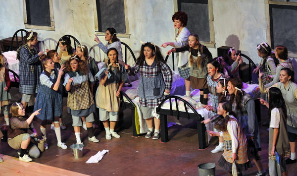 Students perform in Bangor High School's musical Annie on Tuesday night at the high school.