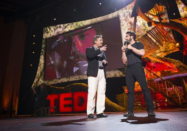 TED's Chris Anderson, left, and Google's Sergey Brin discuss Google Glass at TED 2013.