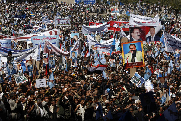 Supporters of Yemen's former President Ali Abdullah Saleh attend a rally Wednesday in Sana, Yemen.