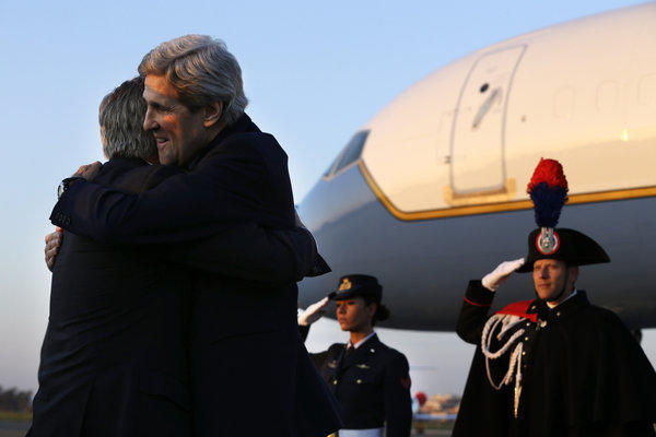 Secretary of State John F. Kerry, arriving in Rome on Wednesday for talks on Syria, is greeted by David Thorne, U.S. Ambassador to Italy.
