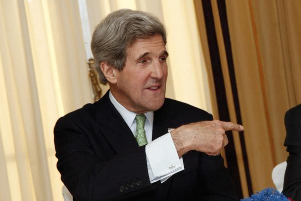 U.S. Secretary of State John Kerry during a meeting in Rome on