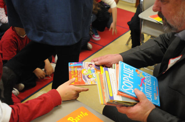 Superintendent Kelt Cooper gave each student Dr. Seuss pencils and a book of their own.