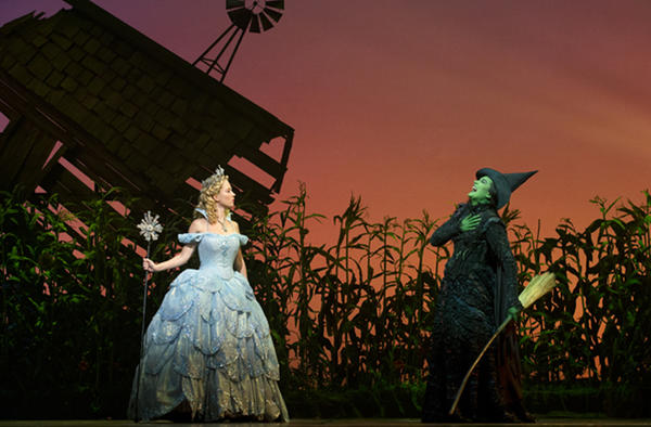 "Patti Murin and Dee Roscioli as Glinda and Elphaba in ""Wicked"" at Segerstrom Center for the Arts."