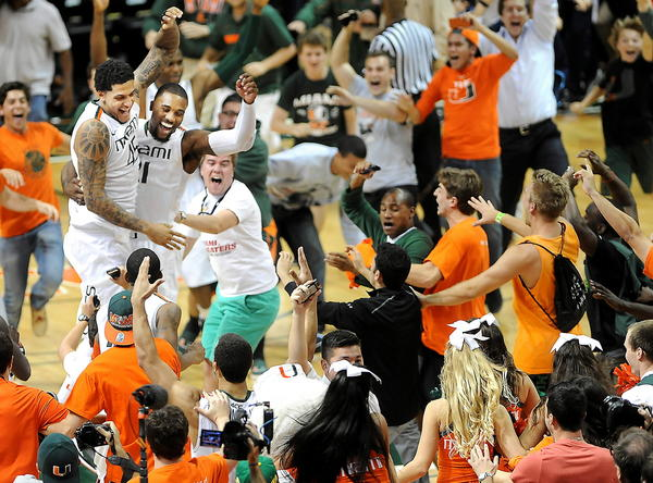 The then No. 25 Hurricanes went out and knocked off the nation's No. 1 team for the first time in school history with a 90-63 drubbing of top-ranked Duke at BankUnited Center. Durand Scott scored 25 points and Kenny Kadji had 22 as Miami (14-3, 5-0 ACC), which had been 0-6 all-time against teams atop the polls, dominated the Blue Devils on both ends of the floor to record its sixth consecutive victory in surprisingly easy fashion.