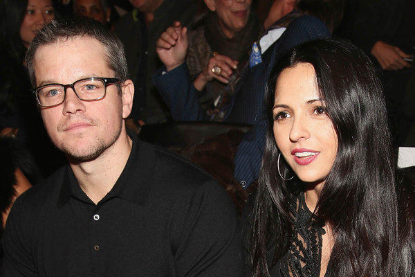 Matt Damon and wife Luciana Barroso attend the Naeem Khan fashion show during Mercedes-Benz Fashion Week in New York City on Feb. 12.