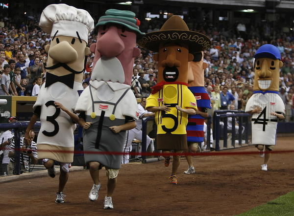 The Milwaukee Brewers Italian racing sausage (left) was reportedly stolen.