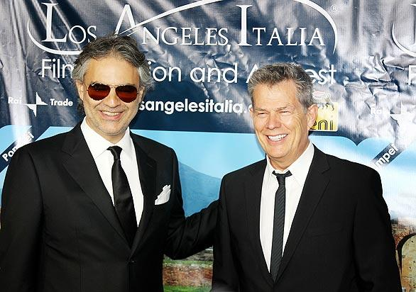 Andrea Bocelli, left, and David Foster attend an award ceremony honoring them during the Los Angeles Italia Film, Fashion and Art Fest. The festival saluted Italian tenor Bocelli and music producer Foster at Grauman's Chinese Theatre in Hollywood as part of its week-long celebration of Italian culture, which included screenings of 36 different films, all free to the public.