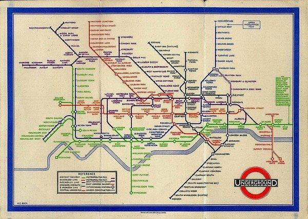 A 1933 version of the London Underground map. That was the year the simplified design was introduced, almost apologetically, to the city.