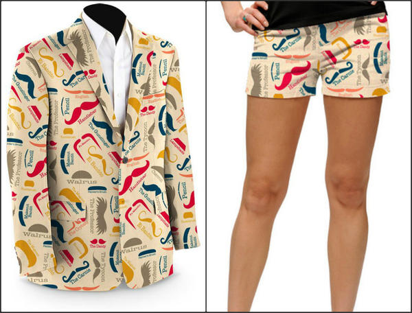 Loudmouth Golf's Mustache Open capsule collection includes a facial-hair festooned men's sports coat ($350) and women's pair of shorts ($65).