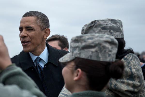 President Obama greets service members after arriving at Joint Base Langley-Eustis in Virginia.