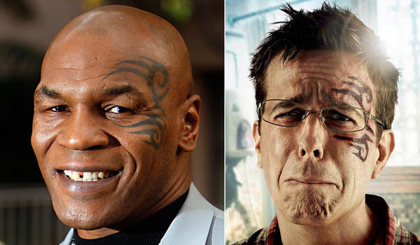 "After the huge success of ""The Hangover,"" Mike Tyson reprised his role in the 2011 sequel ""The Hangover Part II."" In the film, Tyson's iconic facial tattoo was re-created on the face of Stu, played by actor Ed Helms, after a night of debauchery. <a href=""http://latimesblogs.latimes.com/gossip/2011/04/mike-tyson-tattoo-the-hangover-2.html"">Warner Bros. was later sued by the tattoo artist</a> who inked Tyson's famous face, claiming he retained all rights to the image. The dispute was settled out of court."