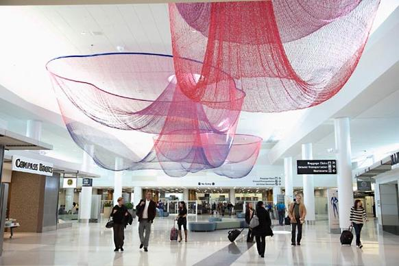 This bright space, formerly the airport's international terminal, was redone and reopened in 2011. Its 14 gates serve American and Virgin American flights, including many from LAX. Arriving, you find a yoga area, day spa, Peet's, Pinkberry, sushi, an organic cafe, a properly sized bookshop, a kids' playspace and even snazzy bathrooms (with those eco-chic Dyson air-blowers). Using an easy AirTrain and BART route, you can get from the terminal to Powell Street (near Union Square) in 35 minutes. Be warned, however, that fog is your foe at SFO. Airport statistics for the year ended Oct. 31 show just 70.8% of SFO departures were on time. Across the bay at Oakland International Airport (also about 35 minutes from Powell Street via BART and a shuttle bus), 80.1% of flights departed on time. 780 S. Airport Blvd.; (650) 821-8211, http://www.flysfo.com.
