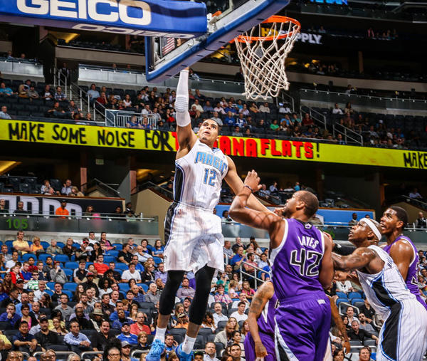 Magic forward Tobias Harris (12) goes up to the basket during third quarter action of a game against the Sacramento Kings at Amway Center in Orlando, Fla. on Wednesday, February 27, 2013. (Joshua C. Cruey/Orlando Sentinel)